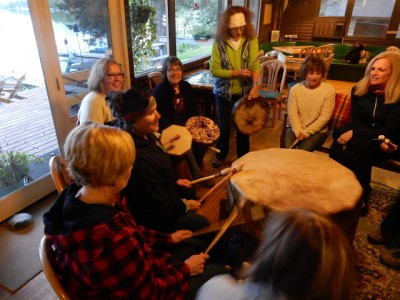 Ladies Retreat drumming in CWC lodge. A good way to connect with each other, start the weekend off letting go of stress and having some fun . . .