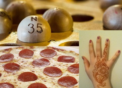 bingo pizza special and henna tattoo night