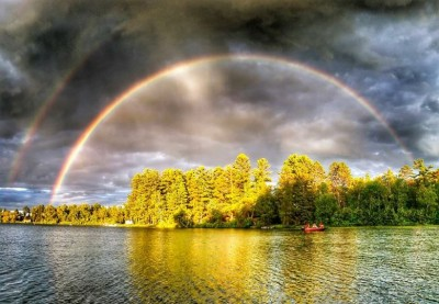 rainbow over 11th Crow Wing Lake, Akeley
