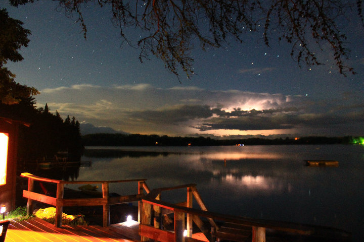 """Thank you Sawyers family, for this 2011 photo contest winner """"watching a summer storm while enjoying the lakeside sauna and standing in the rain"""""""
