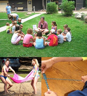 kids nature activity at resort, norwegian volleyball, paracord bracelet making class