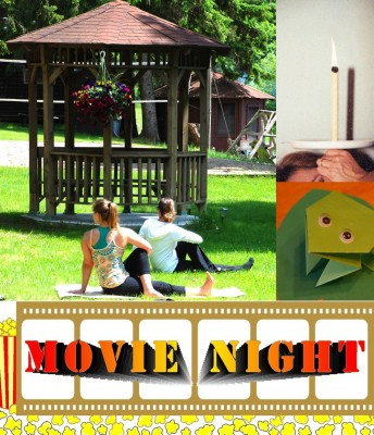 yoga on the lawn, ear candling, origami frog, movie and board game night